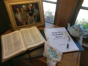 Tabletop with an open Bible and an open book.