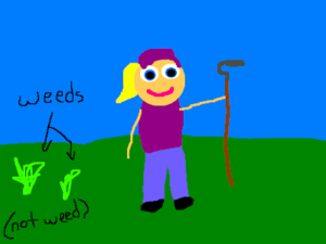 A child's drawing of a gardener