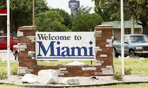 The welcome sign in Miami, OK, the place which became our home in 2000.