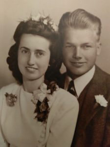 Wedding picture of my mom and dad on Easter Sunday 1945
